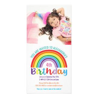 Kids Rainbow Birthday Party Colorful Custom Photo Photo Cards