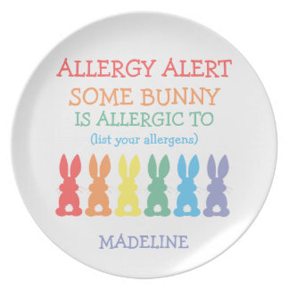 Kids Rainbow Bunnies Food Allergy Alert Cute Bunny Plate