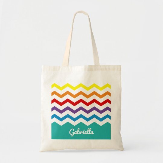 Kids Rainbow Chevron Colourful Pretty Personalised Tote Bag