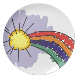 kids rainbow design plate