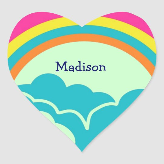 Kids Rainbow Heart Name Stickers