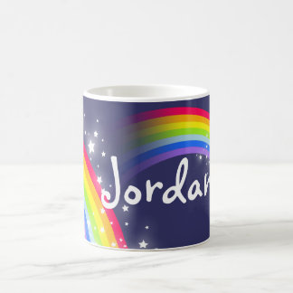 Kids rainbow navy add your name mug