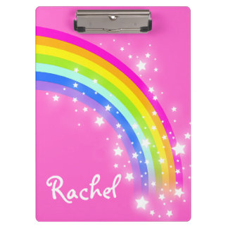 Kids rainbow stars pink named clipboard
