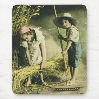 Kids Raking Hay 1903 Vintage Hand Colored Mouse Pad
