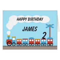 Train birthday cards invitations zazzle kids red blue train birthday card bookmarktalkfo Image collections