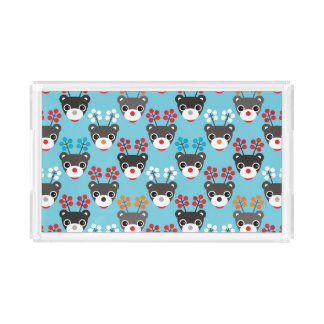 Kids Red Nosed Reindeer Pattern Acrylic Tray