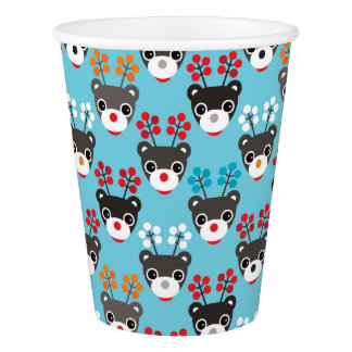 Kids Red Nosed Reindeer Pattern Paper Cup