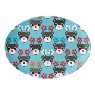 Kids Red Nosed Reindeer Pattern Porcelain Serving Platter