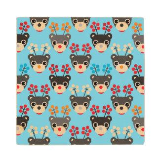 Kids Red Nosed Reindeer Pattern Wood Coaster