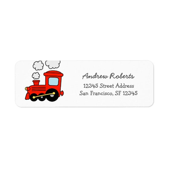 Kids red toy choo choo train return address