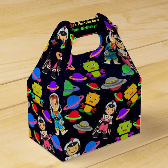 Kids Retro Astronauts and Robots Personalised Favour Boxes