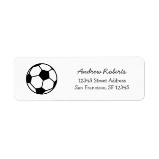 Kids return address labels with cute soccer ball
