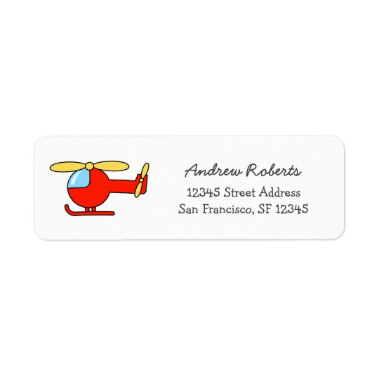 Kids return address labels with toy helicopter