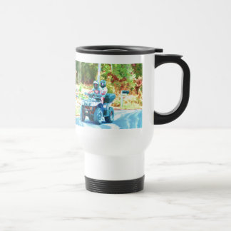 Kids Riding an ATV All Terrain Vehicle on Road Coffee Mug