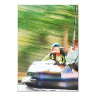 Kids Riding in Bumper Car 9 Cm X 13 Cm Invitation Card