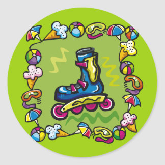 Kids Rollerblade T Shirts and Kids Gifts Round Sticker
