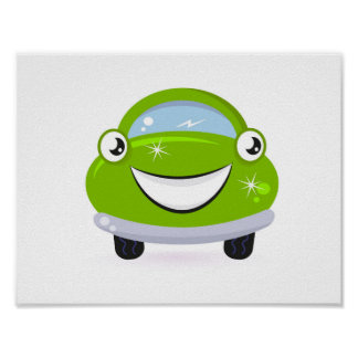 Kids Room art poster : Cute happy auto / Green
