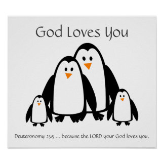 Kids Room Scripture, God Loves You Penguin Family Poster