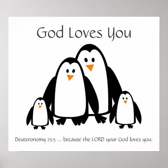 Kids Room Scripture, God Loves You Penguin Family
