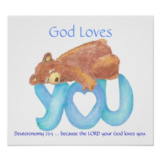 Kids Room Scripture, God Loves You, Teddy Bear