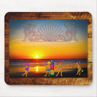 Kids Rule the Beach Sunrise Graphics & Photo Art Mouse Pad
