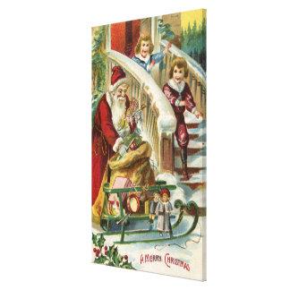 Kids Running to Greet Santa Canvas Prints