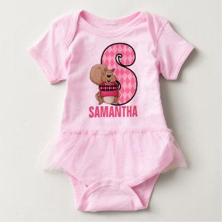 """Kids """"S"""" Monogram   Pink Argyle Squirrel Baby Bodysuit"""