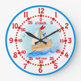 Kids sailing boat learn time blue white wall clock