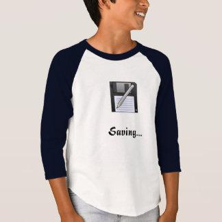 Kids 'Saving...' Floppy Disk logo 3/4 shirt