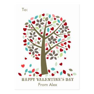 Kids School Classroom Valentine Cards Modern Tree Postcard
