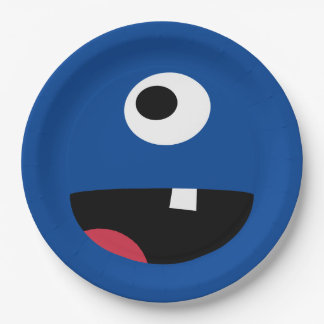 Kids Silly Monster Face Monsters Party Blue Cute 9 Inch Paper Plate