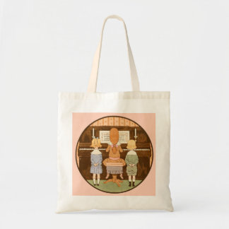 KIDS SINGING, VINTAGE PIANO LESSON SMALL TOTE BAG
