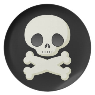 Kids Skull and Crossbones Halloween Plate