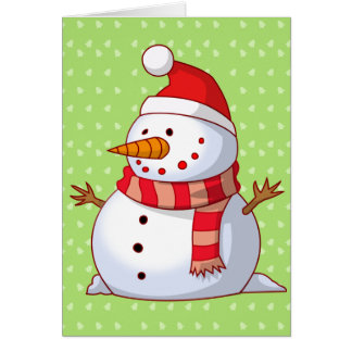 Kids Snowman Christmas Tree Snow for Grandparents Greeting Card
