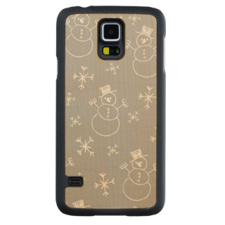 Kids Snowman Pattern Carved Maple Galaxy S5 Case