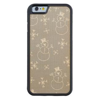 Kids Snowman Pattern Carved Maple iPhone 6 Bumper Case