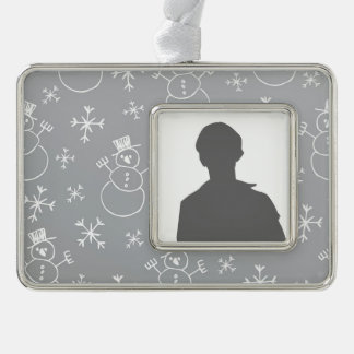 Kids Snowman Pattern Silver Plated Framed Ornament