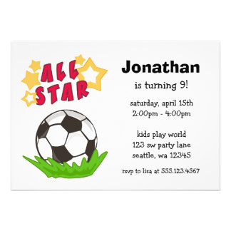 Kids Soccer All Star Birthday Party Invitations