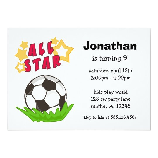 Kids Soccer All Star Birthday Party Invitations
