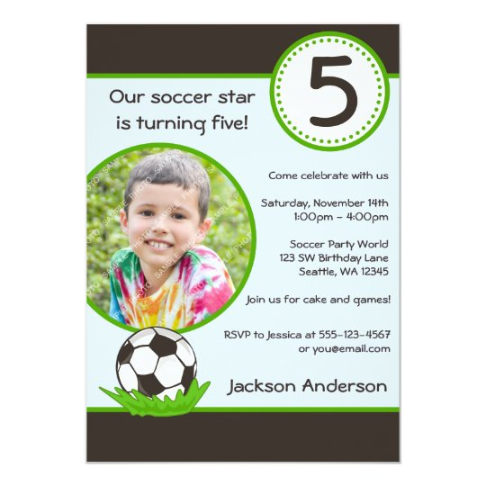 Kids Soccer Ball Photo Birthday Party Invitation