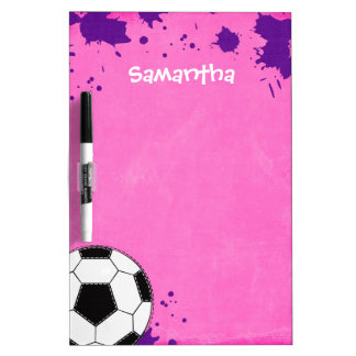 Kids Soccer Ball Pink Personalized Dry Erase Board