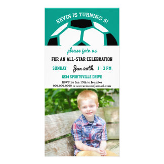 Kids Soccer Birthday Party Sports Themed Photo Photo Greeting Card