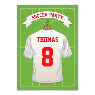 Kids Soccer Birthday Party | White Jersey Card