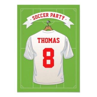 Kids Soccer Birthday Party | White Jersey Invitation