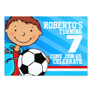 Kids soccer / football sports birthday invitation