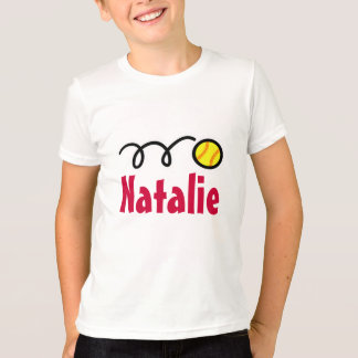 Kids softball t-shirts for girls | Customized name