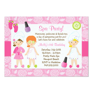 "Kids Spa Birthday Party Invitation 5"" X 7"" Invitation Card"