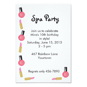 kids spa party invitations