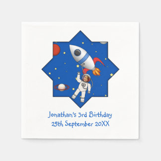 Kids Space Walk Astronaut and Rocketship Photo Paper Napkin