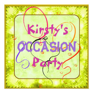 Kids sparkly party pet animals custom invitations
